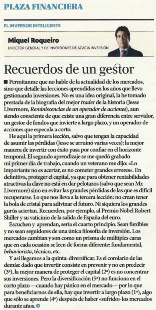 articulo Miguel Roqueiro revista Valencia Plaza - Acacia Inversion